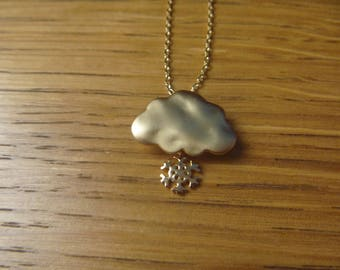 Winter snowflake and gold cloud necklace