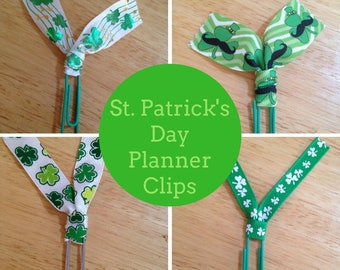 St. Patrick's Day Planner Clip Paper Clip for Planners, Journals, Organizing, Paperwork, Bible, Bookmarks: Irish Clovers Shamrocks March 17