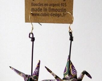 Origami crane purple cherry earrings