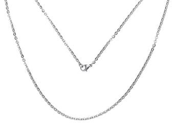 Chain, necklace, stainless steel, link chain, 51 cm