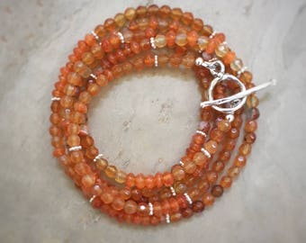 Carnelian Wrap Bracelet Necklace Sterling Silver