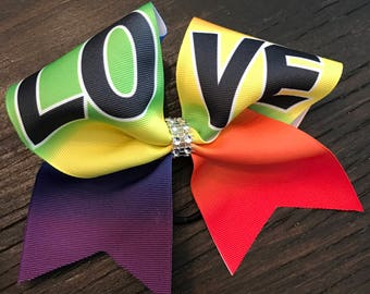 Rainbow LOVE Cheer Bow