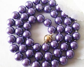 Rare 10mm violet South Sea shell Pearl Necklace 18""