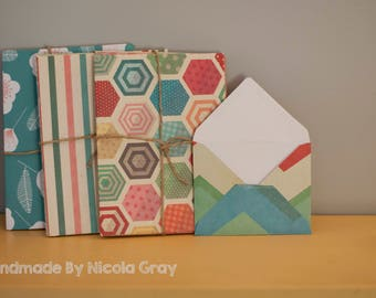 Pack of 5 Handmade Envelopes 7x5, 6x4 and 8x10