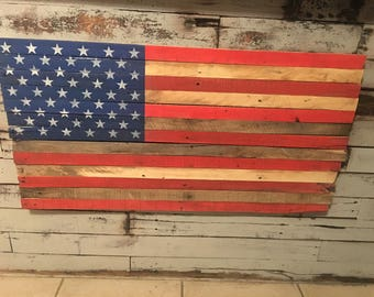 Rustic American Flag made from reclaimed wood. FREE SHIPPING!