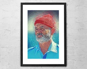 Steve Zissou - Painting - Steve Zissou Print - Steve Zissou Poster - Bill Murray Art - Wes Anderson Print - The Life Aquatic - Movie Poster