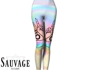 Trippy satanic hands Leggings for the wild ones • yoga class and sunday brunch approved • handmade in Montreal - XS to XL