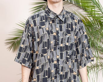 Summer shirt•Short sleeve shirt•Buttoned silk shirt•Button up shirt•90s Mens clothing•Hippie shirt•Hipster shirt•Holidays 90s vintage shirt