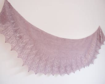 Shawl hand-knitted - Lace - Mohair - Light shawl - old pink