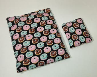 Donuts on Black Microwavable Heating Pad Set - comfort bag;heat therapy;cooling pack; square heating pad; tummy warmer