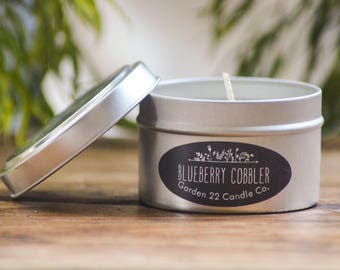 Soy Candle, Blueberry Cobbler, Blueberry Bakery Scented Candle, Candle Tin, Natural Candle, Home Fragrance