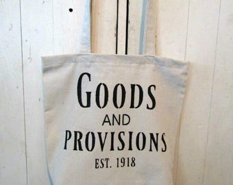 Farmhouse Canvas Tote Bag -Goods And Provisions//Tote Bag//Reusable Grocery Bag//Farmers Market Bag
