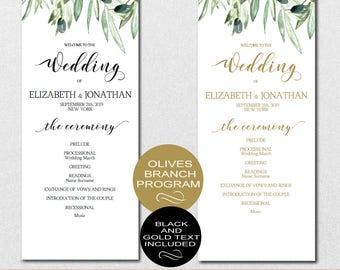 Wedding Program Printable, Wedding Program Template - Green Leaves Rustic Wedding Program-DIY Editable PDF-DOWNLOAD Instantly   VRD135PL