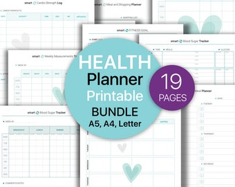 HEALTH FITNESS Planner BUNDLE, Weight Loss Progress, Workout Log, Activity Planner, Blood Sugar Tracker, Printable planner, Instant download