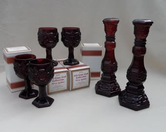 Vintage 1970's Avon 1876 Cape Cod Collection Cranberry Burgundy Red (4) Goblet (2) Candlesticks  (4) Dessert / Salad Plates