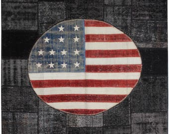 American Flag Rug, Handknotted FREE SHIPPING 10 x 6.5 ft