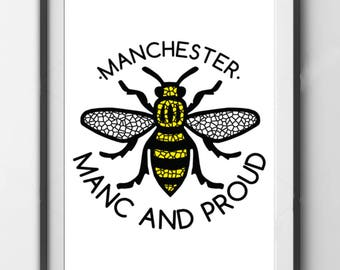 Manc and Proud Poster Print - No Frame Included, Print Only - Manchester Bee Mosaic Mancunian Madchester Hacienda Northern Quarter Hipster