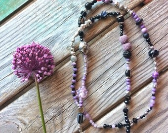 Lilac silver long necklace
