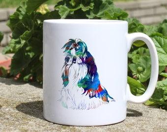 Shih Tzu mug - Dog watercolor mug - Colorful printed mug - Tee mug - Coffee Mug - Gift Idea