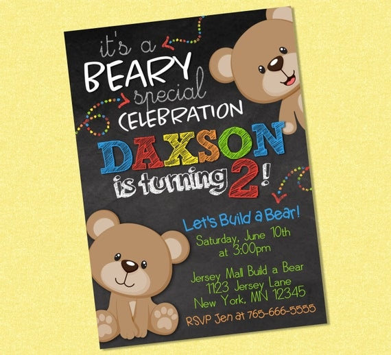 Sweet Teddy Bear Chalkboard Birthday Invitation Teddy Bear