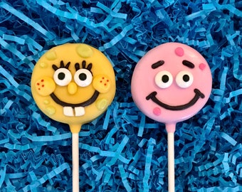 Spongebob & Patrick Oreo cookie pops/ birthday party favor/ chocolate covered Oreos/ one dozen (12)