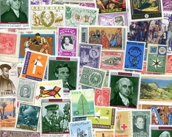 100 Vintage Worldwide Unused Stamps /Free Domestic Shipping