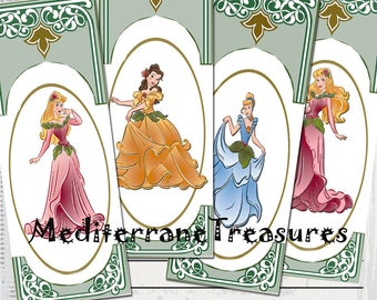 Printable set 0f 4 Disney Bookmarks Calendar Two side different,reader gift.