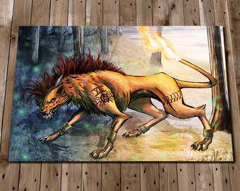 Final Fantasy 7 Print - Red XIII Art Painting - Nanaki Poster - Final Fantasy Wall Art - Final Fantasy Home Decor - Final Fantasy Gifts