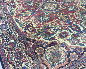 "9'1"" x 12'5"" Antique Persian Kerman Lavar"