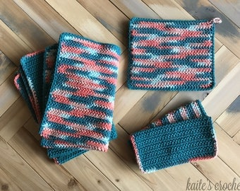 Coral Reef Kitchen Series - All 3 Patterns / Crochet Pattern / Kitchen Crochet / Crochet Dishcloths / Crochet Potholder / Crochet Dishtowels