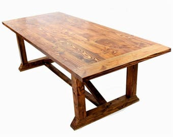 8' Wood Farm Table, Large Farmhouse Table, Country Furniture, Modern Rustic Decor