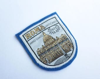 Vintage ROME City Embroidered Felt Patch - Itaian Sewed On Patch