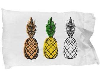 Pineapple Print Pillowcase, Colorful Sandard Pillow Case Cover