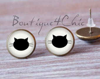 Black Kitty for luck Cat Earrings Animal Earrings Stud Kitty Earrings Stud Kitten Earrings Kitty Earrings Cute Earrings Stud