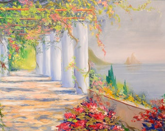 Greek painting Greece Painting Oil painting on canvas Greek Wall Art Mediterranean art Landscape Painting Summer Painting Cityscape Painting