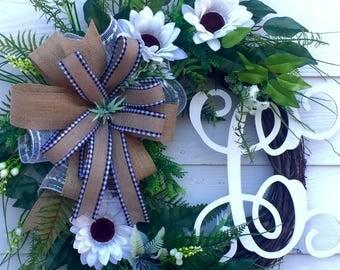 NEW! Grapevine Wreath, Spring Wreath, Monogram Wreath, Summer Wreath, Front Door Wreath, Sunflower Wreath, Initial Wreath, Everyday Wreath