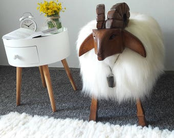 icelandic sheepskin sheep handmade white ottoman wooden and sheepskin unique stool for home