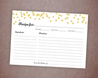 Recipe Cards Printable, Bridal Shower Recipe Card, Gold Confetti, Bachelorette, Wedding Shower, Printable Recipe Cards, BSG1