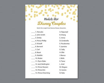 Disney Couples Match Game, Famous Couples Match Printable, Gold Polka Dots, Fun Bridal Shower Games, Wedding Shower Activities, A004