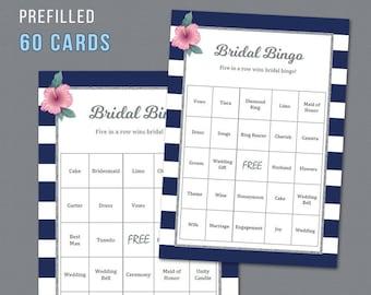 60 Prefilled Bridal Bingo Cards Printable, Silver Kate Spade, Blue White Stripes, Bridal Shower Games, Bachelorette Bingo, Wedding,  A019