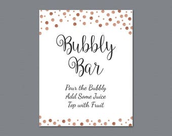 Bubbly Bar Sign Printable, Mimosa Bar Sign, Bridal Shower Decorations, Rose Gold Confetti Wedding Sign, Cocktail Drink Sign, A008