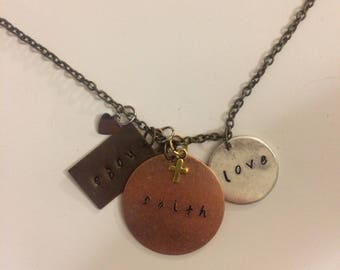 Hope Faith Love hand stamped necklace