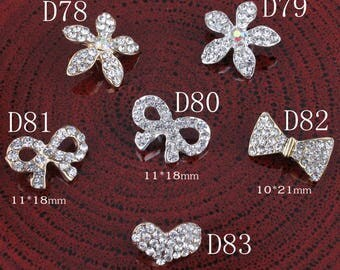 Bows/heart/seafish Vintage Metal Rhinestone Buttons Bling Alloy Crystal Shank Flower Center Buttons for Hair accessories