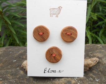 Wooden Buttons/Elm wood buttons/round buttons/set of three thick round wooden buttons/light brown buttons/earthy buttons/sustainable buttons