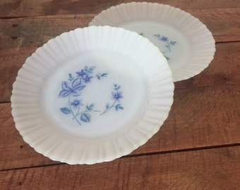 Set of Two Milk Glass Plates with Blue Floral Design Vintage Milk Glass Dishes / White Plates with Blue Flowers / Dessert Plates Side Plates