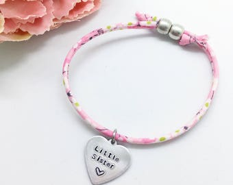 Personalised childrens 'Little Sister' Liberty bracelet   Gifts for girls   Gifts for sisters   Personalised gifts   Childs bracelet