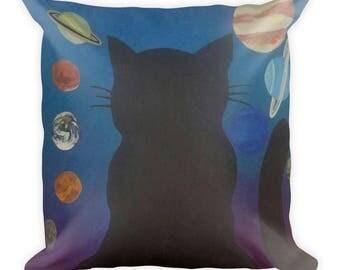 Cosmic Cat Square Pillow