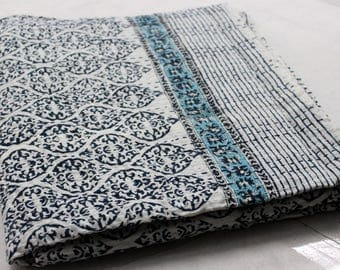 Hand made kantha quilt vintage twin size throw hand stitched Mughal Blue print kantha bedcover