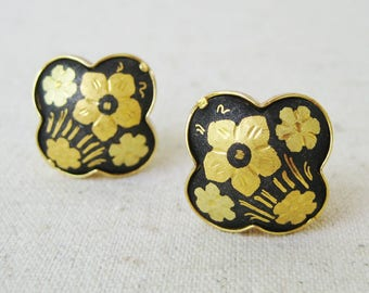 Damascene Flower Earrings, Vintage Clip On Earrings, Floral Earrings, Black Gold, Spring Wedding, Nature Jewelry, Etched, Gift For Her