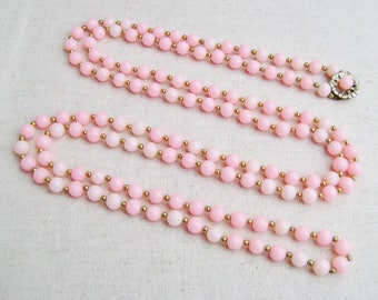 Pink Beaded Necklace, Vintage Necklace, Flower Clasp, Gold Tone, Pastel Jewelry, Spring Wedding, Long Necklace, Light Pink, Easter, Gift